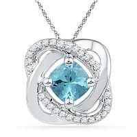 10kt White Gold Womens Princess Lab-Created Blue Topaz Solitaire Diamond Pendant 3/4 Cttw