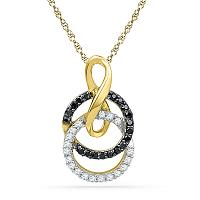 10kt Yellow Gold Womens Round Black Color Enhanced Diamond Double Circle Pendant 1/5 Cttw