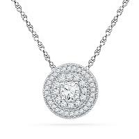 10kt White Gold Womens Round Diamond Solitaire Pendant 1/2 Cttw