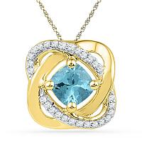 10kt Yellow Gold Womens Princess Lab-Created Blue Topaz Solitaire Diamond Pendant 3/4 Cttw