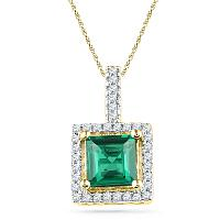 10kt Yellow Gold Womens Cushion Lab-Created Emerald Solitaire & Diamond Pendant 1-3/8 Cttw