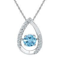 Sterling Silver Womens Round Lab-Created Blue Topaz Teardrop Moving Twinkle Pendant 3/4 Cttw