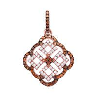 10kt Rose Gold Womens Round Red Color Enhanced Diamond Square Cluster Pendant 1/2 Cttw