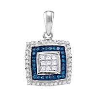10kt White Gold Womens Round Blue Color Enhanced Diamond Square Frame Pendant 1/3 Cttw