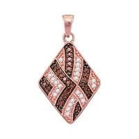 10kt Rose Gold Womens Round Red Color Enhanced Diamond Diagonal Square Pendant 1/3 Cttw