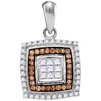 10kt White Gold Womens Round Cognac-brown Color Enhanced Diamond Square Pendant 1/3 Cttw