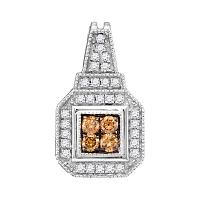 10kt White Gold Womens Round Cognac-brown Color Enhanced Diamond Square Cluster Pendant 1/3 Cttw