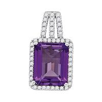 14kt White Gold Womens Amethyst Solitaire Diamond-accent Pendant 1/4 Cttw