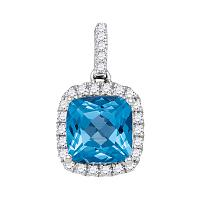14kt White Gold Womens Cushion Blue Topaz Solitaire Diamond Pendant 1-7/8 Cttw