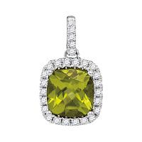 14kt White Gold Womens Cushion Peridot Solitaire Diamond Accent Pendant 1-5/8 Cttw