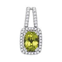 14kt White Gold Womens Cushion Peridot Solitaire Diamond Pendant 1/5 Cttw