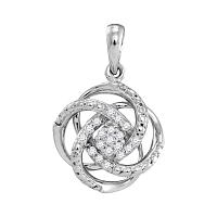 10kt White Gold Womens Round Diamond Cluster Pendant 1/10 Cttw