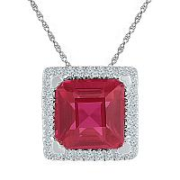 Sterling Silver Womens Cushion Lab-Created Ruby Solitaire Diamond Pendant 1/10 Cttw