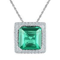 Sterling Silver Womens Cushion Lab-Created Emerald Solitaire Pendant 1-3/4 Cttw