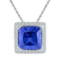 Sterling Silver Womens Princess Lab-Created Blue Sapphire Solitaire Square Frame Diamond Pendant 1-7/8 Cttw
