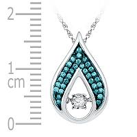 10kt White Gold Womens Round Diamond Solitaire Teardrop Moving Pendant 1/5 Cttw
