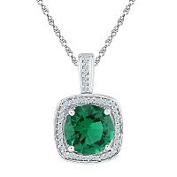 Sterling Silver Womens Round Lab-Created Emerald Solitaire Diamond Pendant 4-1/8 Cttw