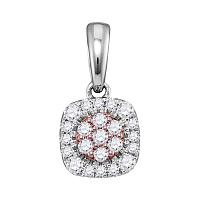 18kt Two-tone Rose Gold Womens Round Diamond Flower Cluster Pendant 1/6 Cttw