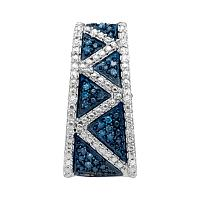 10kt White Gold Womens Round Blue Color Enhanced Diamond Vertical Bar Striped Pendant 1/10 Cttw
