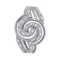 10kt White Gold Womens Round Diamond Concentric Swirl Pendant 1/20 Cttw