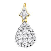 14kt Yellow Gold Womens Round Diamond Teardrop Cluster Pendant 3/4 Cttw