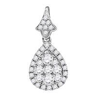 14kt White Gold Womens Round Diamond Teardrop Cluster Pendant 3/4 Cttw