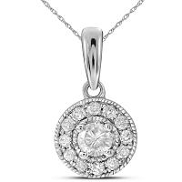 14kt White Gold Womens Round Diamond Solitaire Pendant 1/4 Cttw