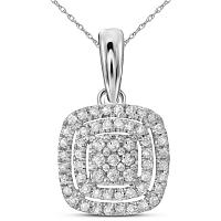 14kt White Gold Womens Round Diamond Concentric Square Cluster Pendant 1/3 Cttw