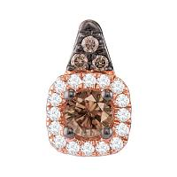 14kt Rose Gold Womens Round Cognac-brown Color Enhanced Diamond Halo Solitaire Pendant 1/4 Cttw