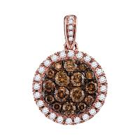 14kt Rose Gold Womens Round Brown Diamond Circle Cluster Pendant 1.00 Cttw
