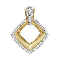 10kt Yellow Gold Womens Round Diamond Diagonal Framed Square Pendant 1/6 Cttw