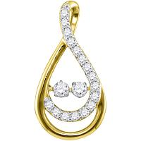 10kt Yellow Gold Womens Round Diamond Moving Twinkle 2-Stone Teardrop Pendant 1/2 Cttw