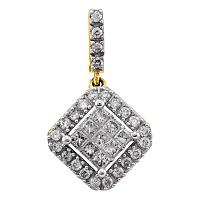 14kt Yellow Gold Womens Princess Round Diamond Diagonal Square Cluster Pendant 1/3 Cttw
