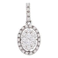 14kt White Gold Womens Round Diamond Oval Cluster Pendant 1/2 Cttw