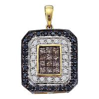 14kt Yellow Gold Womens Round Black Color Enhanced Diamond Fashion Pendant 3/4 Cttw
