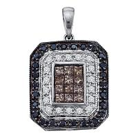 14kt White Gold Womens Black Brown Color Enhanced Diamond Rectangle Cluster Pendant 3/4 Cttw