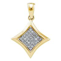 10kt Yellow Gold Womens Round Diamond Square Kite Cluster Pendant 1/8 Cttw