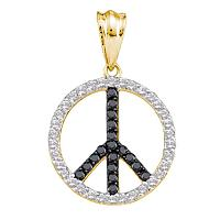 14kt Yellow Gold Womens Round Black Color Enhanced Diamond Peace Sign Circle Pendant 3/4 Cttw