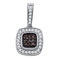 14kt White Gold Womens Round Cognac-brown Color Enhanced Diamond Square Frame Cluster Pendant 1/4 Cttw