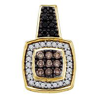 14kt Yellow Gold Womens Round Black Color Enhanced Diamond Square Cluster Pendant 1/2 Cttw