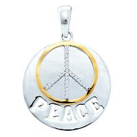 Sterling Silver Womens Round Diamond Peace Sign Two-tone Circle Pendant 1/10 Cttw