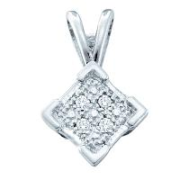Sterling Silver Womens Round Diamond Diagonal Square Cluster Pendant .01 Cttw