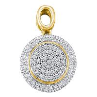 10kt Yellow Gold Womens Round Diamond Circle Frame Cluster Pendant 1/4 Cttw