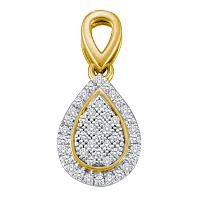 10kt Yellow Gold Womens Round Diamond Cluster Oval Frame Teardrop Pendant 1/8 Cttw