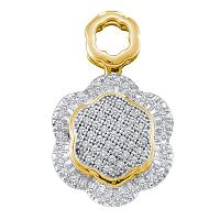 10kt Yellow Gold Womens Round Diamond Hexagon Frame Cluster Pendant 1/4 Cttw