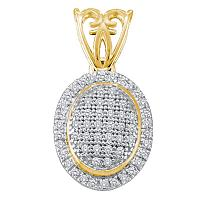 10kt Yellow Gold Womens Round Diamond Oval Frame Cluster Pendant 1/5 Cttw