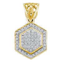 10kt Yellow Gold Womens Round Diamond Hexagon Frame Cluster Pendant 1/5 Cttw