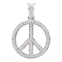 10kt Yellow Gold Womens Round Diamond Peace Sign Circle Pendant 1/4 Cttw
