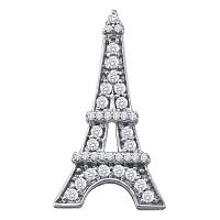 10kt White Gold Womens Round Diamond Eiffel Tower Fashion Pendant 1/3 Cttw