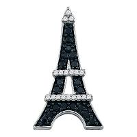 10kt White Gold Womens Round Black Color Enhanced Diamond Eiffel Tower France Pendant 1/3 Cttw
